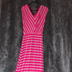 Pink and Grey Striped Maxi Dress NWOT